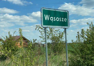 """Znak drogowy - zielona tablica, a na niej nazwa """"Wąsosze"""""""
